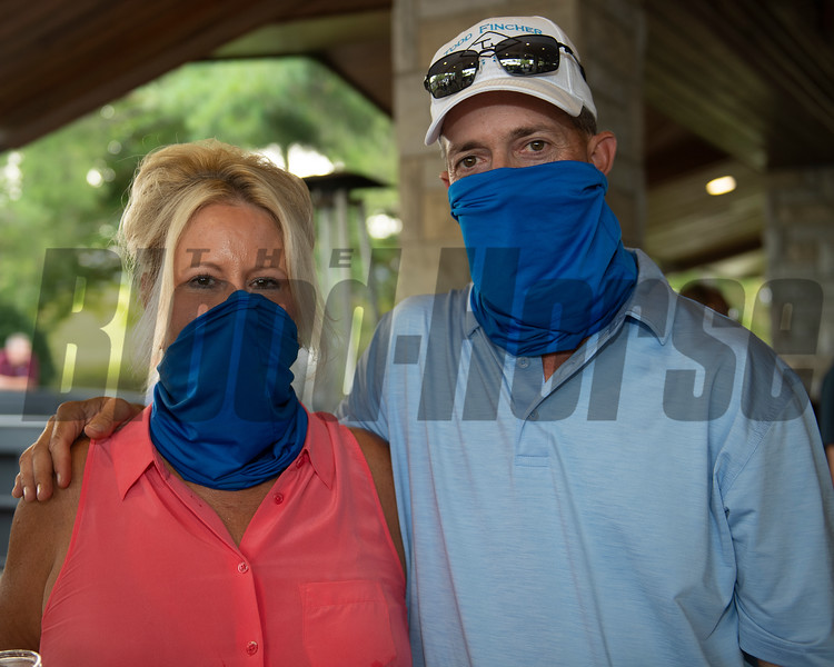 (L-R): Lorie and Lee Owens after purchasing Hip 757 colt by Quality Road out of Revel in the Win from Summerfield for Stonestreet<br /> at Keeneland September sale yearlings in Lexington, KY on September 16, 2020.