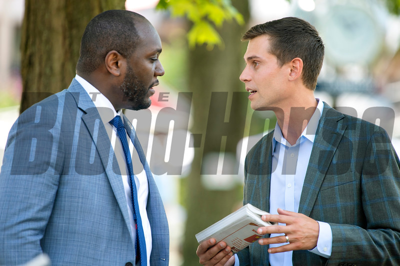 (L-R): Najja Thompson and Joseph Migliore at Saratoga Race Course in Saratoga Springs, N.Y., on Aug. 28, 2021.