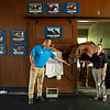 Caption: (L-R): Rob Willis, Hall of Champions Manager, Funny Cide, and Laura Kraner, Hall of Champions Coordinator<br /> Funny Cide  at the Kentucky Horse Park near Lexington, Ky., on Sept. 1, 2020 Kentucky Horse Park in Lexington, KY.