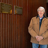in the original barn beside plaques on Leslie Combs and John himself. <br /> John Williams at Spendthrift Farm near Lexington, Ky., and at his home near Versailles, Ky. on November 18, 2020.