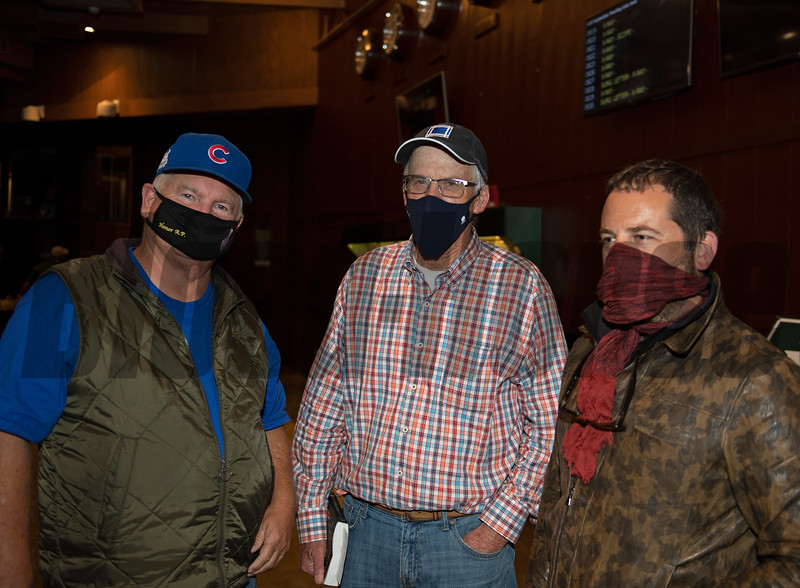 (L-R): Lee Searing, John Shirreffs; David Ingordo after purchase of Hip 812 colt by Gun Runner out of Sweet Shirley Mae from Baccari Bloodstock<br /> at Keeneland September sale yearlings in Lexington, KY on September 16, 2020.
