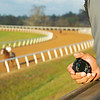 stop watch to time horses. Robbie Medina training horses at Blackwood Stables near Versailles, Ky.  on October 22, 2020.