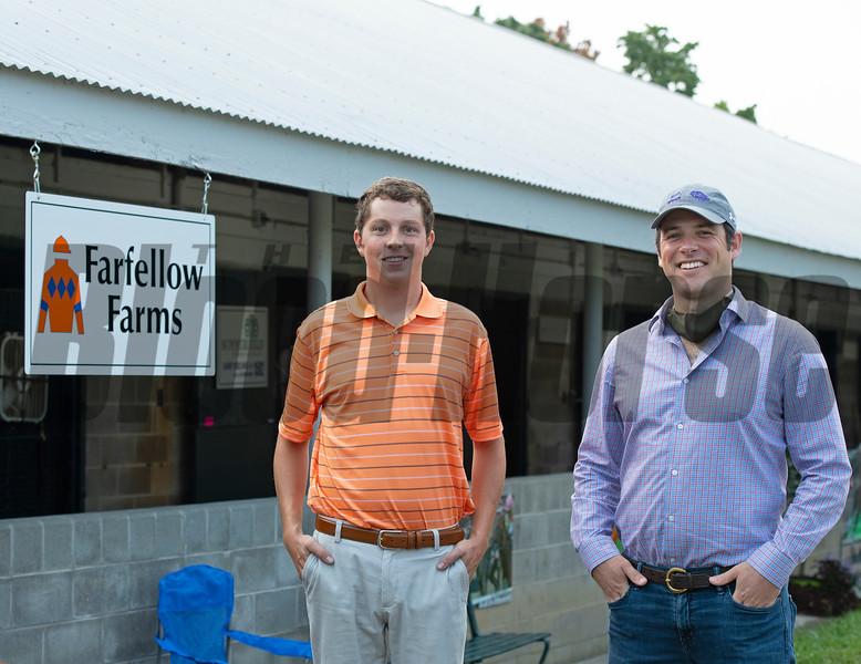 (L-R): Josh Hennessy, Farfellow farm manager, and Jack Knelman<br /> at Keeneland September sale yearlings in Lexington, KY on September 16, 2020.