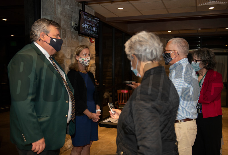 (L-R): Geoffrey Russell and Shannon Arvin with media<br /> at Keeneland September sale yearlings in Lexington, KY on September 16, 2020.