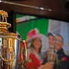Justify's Kentucky Derby trophy with the Troutts and family in a winner's circle photo. <br /> Kentucky Derby trophies for Super Saver and Triple Crown winner Justify at WinStar Farm on March 5, 2021.