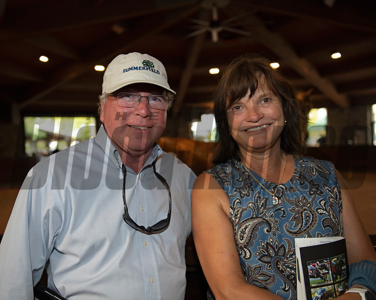 (L-R): Frances Vanlangendonck with Summerfield and Barbara Banke with Stonestreet after sale of Hip 757 colt by Quality Road out of Revel in the Win from Summerfield for Stonestreet<br /> at Keeneland September sale yearlings in Lexington, KY on September 16, 2020.