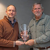 (L-R): Michael Behrens with MyRaceHorse.com accepts New Owner of the Year Award from Gary Falter with Thoroughbred OwnerView at the Jockey Club offices in Lexington, Ky., on Dec. 2, 2020.