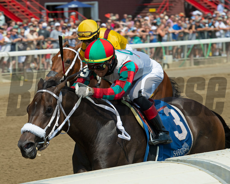 November Rain with Jose Ortiz wins the Seeking the Ante Stakes<br /> Scenes from New York Thoroughbred Breeders day during Travers week in Saratoga on Aug. 27, 2021.