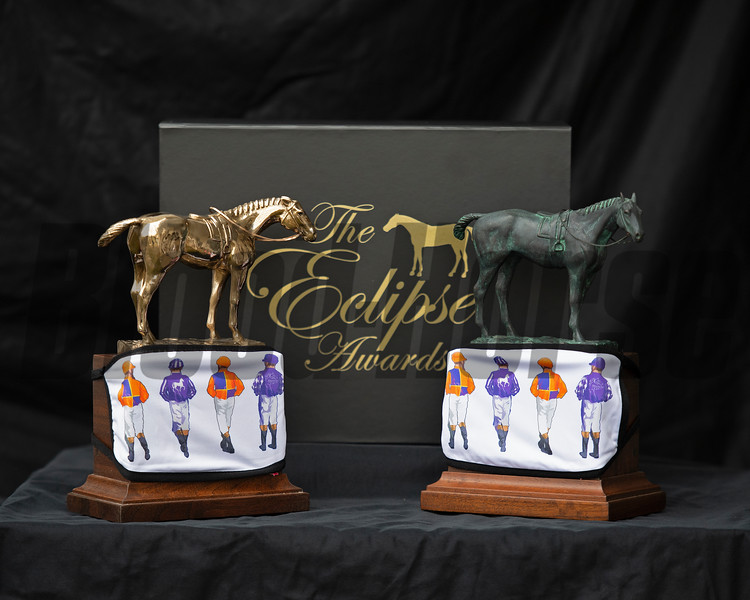 Eclipse Horse of the Year, left, and standard Eclipse Award, right, with Spendthrift Farm masks.<br /> Eclipse Award images near Versailles, Ky., on Jan. 5, 2021.