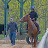 Caption: trainer Kevin Noltemeyer after 2018 Midshipman filly out of Showing Home came out of the gate. <br /> Training at Silver Springs Training, part of Silver Springs Stud, near Lexington, Ky.,  on April 8, 2020 Silver Springs in Lexington, KY.