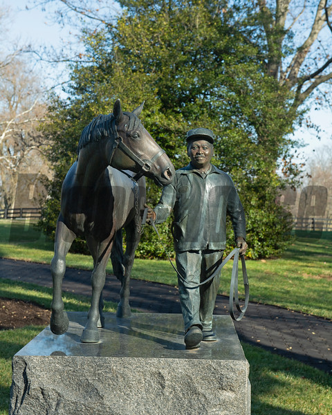 Nashua with Clem Brooks sculpture by Liza Todd at Spendthrift Farm near Lexington, Ky., on Dec. 9, 2020.