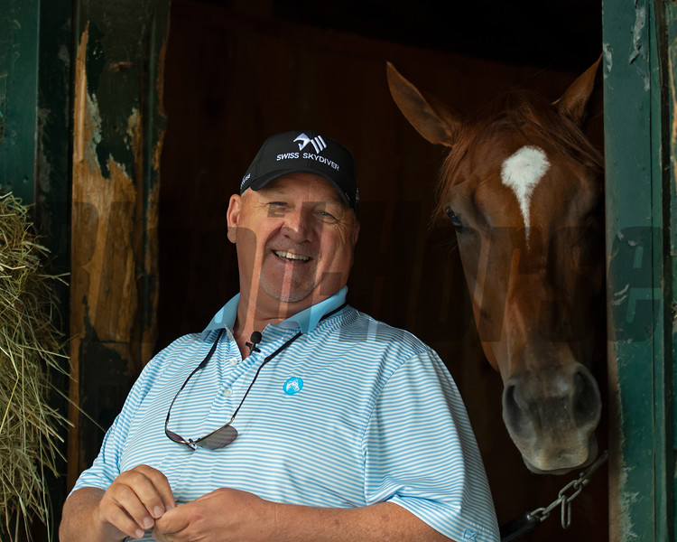 Kenny McPeek with Swiss Skydiver<br /> Saratoga racing scenes in Saratoga Springs, N.Y. on Aug. 5, 2021.