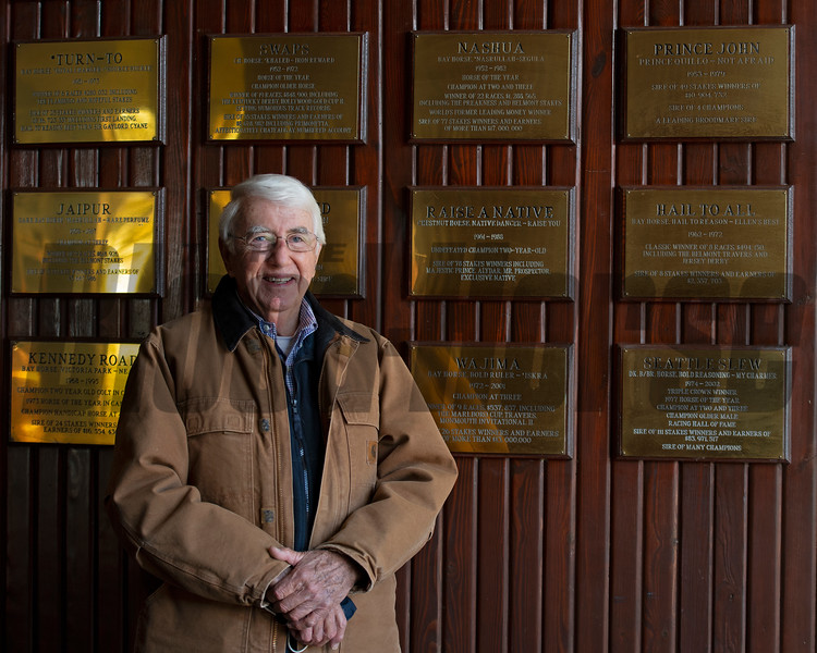 in original stallion barn by plaques commemorating the farm's history<br /> John Williams at Spendthrift Farm near Lexington, Ky., and at his home near Versailles, Ky. on November 18, 2020.