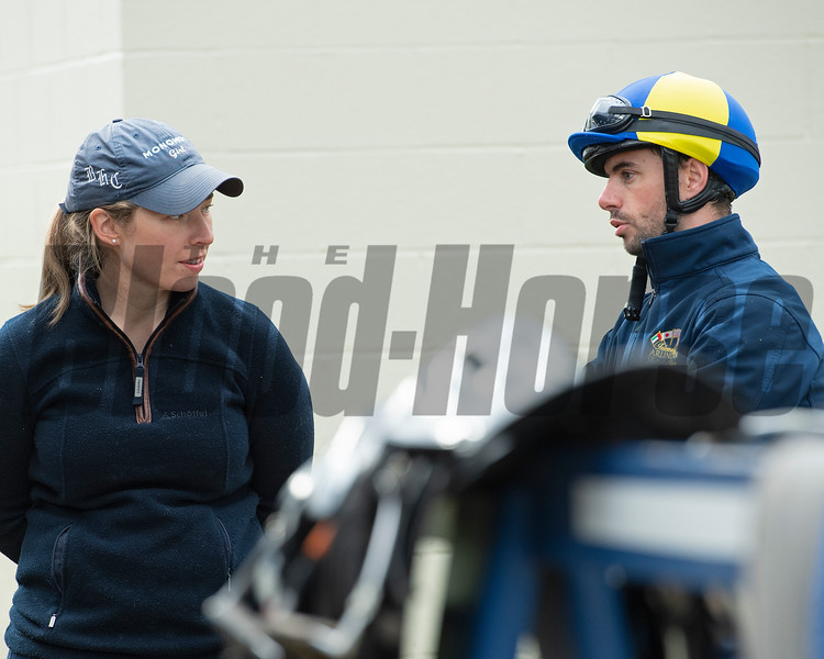 Caption: L-R: Liz Crow and Florent Geroux<br /> Keeneland scenes and horses on April 25, 2020 Keeneland in Lexington, KY.