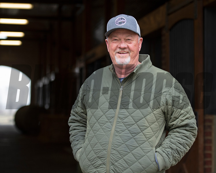 Barry Robinette, farm manager with Clearsky Farm<br /> Bubbler owned by Clearsky and Hill 'n' Dale is at a division of the Cleary family's Clearsky Farm near Midway, Ky. on March 11, 2021.