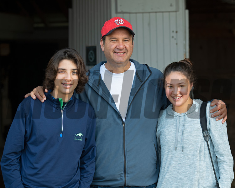 (L-R): Andres, Fausto, and Ana Gutierrez. Letruska and trainer Fausto Gutierrez at Keeneland on July 3, 2021.