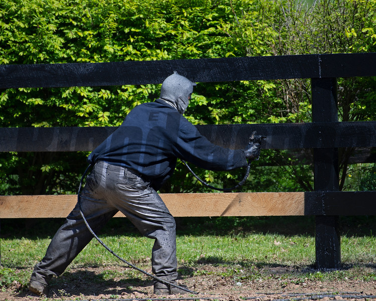 Caption: Fence painting<br />   on April 21, 2020 Dixiana in Lexington, KY.