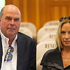 (L-R): Steve Young and Joanne Wiegand-Daw<br /> Sales scenes at Fasig-Tipton in Saratoga Springs, N.Y. on Aug. 9, 2021.