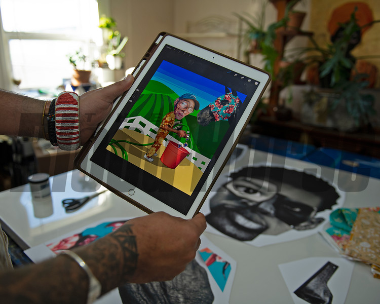 Dafri creates digitals first, using his ipad. <br /> Dafri aka Jason Thompson, an American artist from Kentucky who specializes in multi-mediums and various subjects including a focus on black jockeys and history, in his art studio on March 2, 2021.