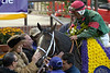 CAPTION: winners circle with Dutrows and Prado<br /> Silver Train wins the Sprint.<br /> Breeders Cup day<br /> Oct. 29, 2005, at Belmont Park in Elmont, NY<br /> SprintCard2  image71<br /> Photo by Anne M. Eberhardt