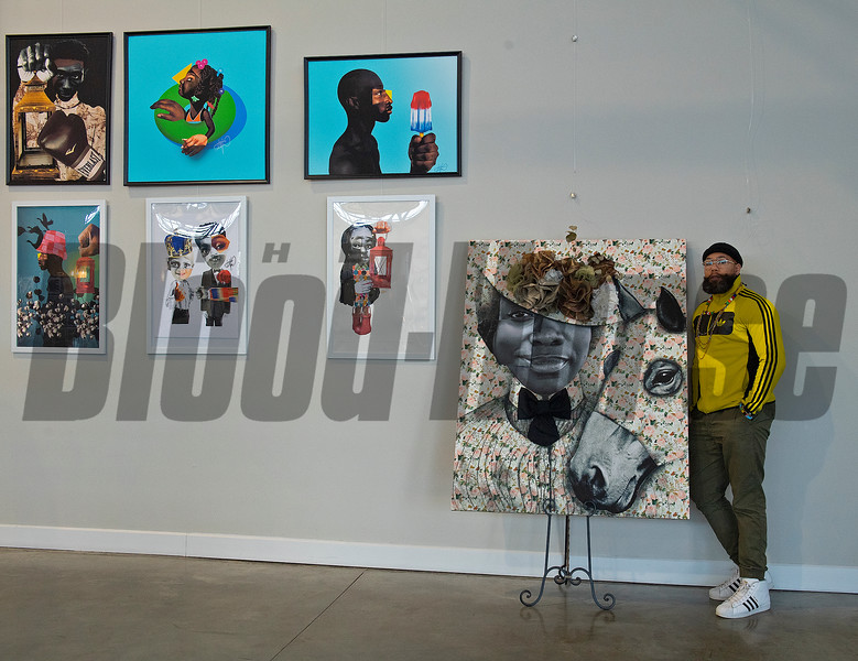 By Unbridled Excellence beside his gallery and booth.<br /> Dafris the artist in his booth at Greyline in Lexington, Ky., on March 4, 2021.