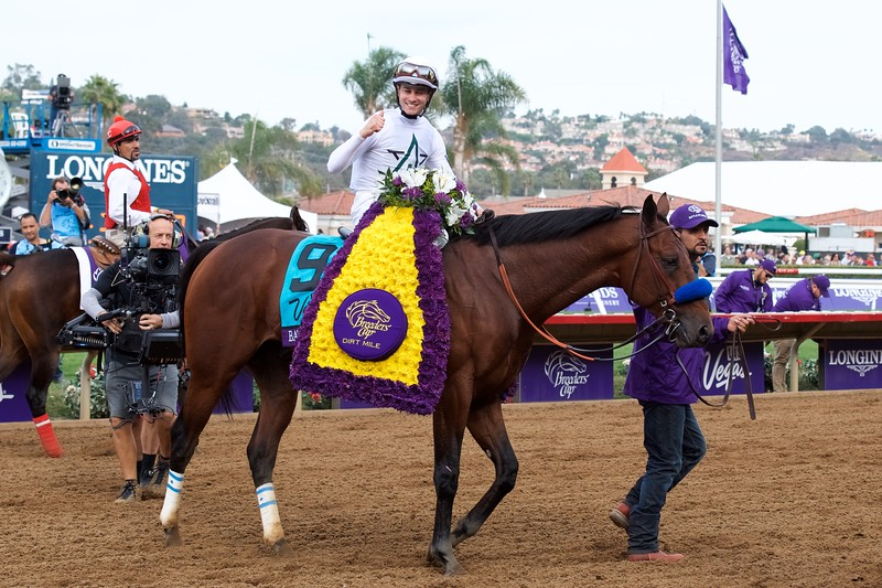 Flavien Prat celebrates winning the Breeders Cup Dirt Mile atop Battle of Midway on November 3, 2017. Photo by Anne Eberhardt.