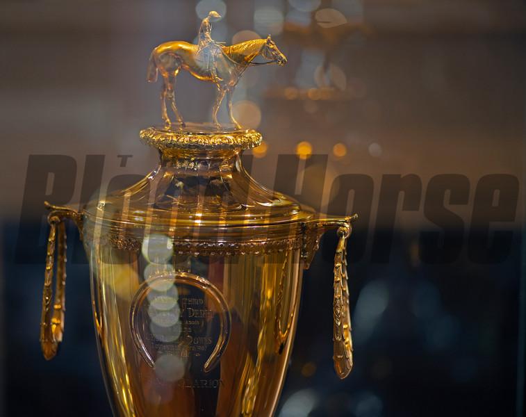 Encased in glass, the 1967 Kentucky Derby trophy won by Proud Clarion for Darby Dan Farm on Feb. 19, 2021.
