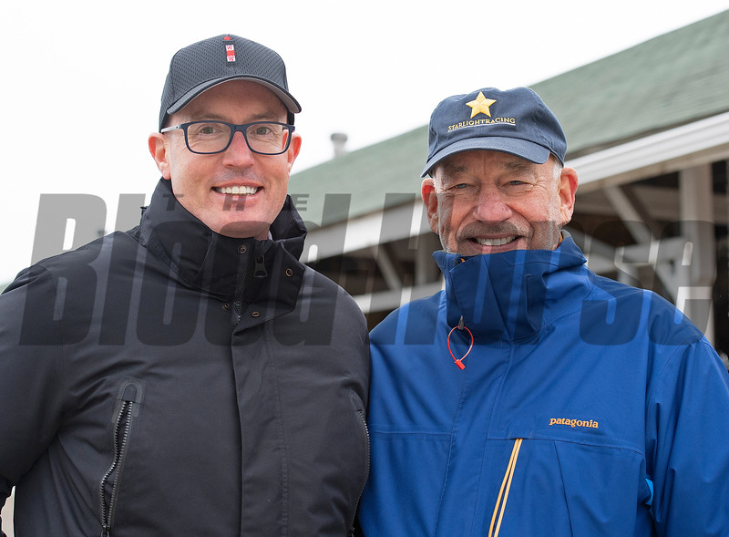 (L-R): Tom Ryan with SF Bloodstock and Racing and Jack Wolf with Starlight Racing<br /> Kentucky Derby and Oaks horses, people and scenes at Churchill Downs in Louisville, Ky., on April 23, 2021.