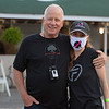 Caption: (L-R): Bruce Lunsford with his daughter Brandy Lunsford, wearing Art Collector mask<br /> Kentucky Derby and Oaks training at Churchill Downs near Louisville, Ky., on Aug. 28, 2020 Churchill Downs in Louisville, KY.