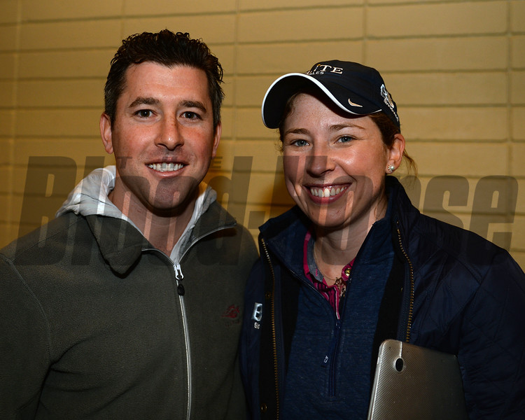 Hip 977 Runway Doll from Elite brings $145,000 from Coolmore. l-r, Bradley Weisbord and Liz Crow