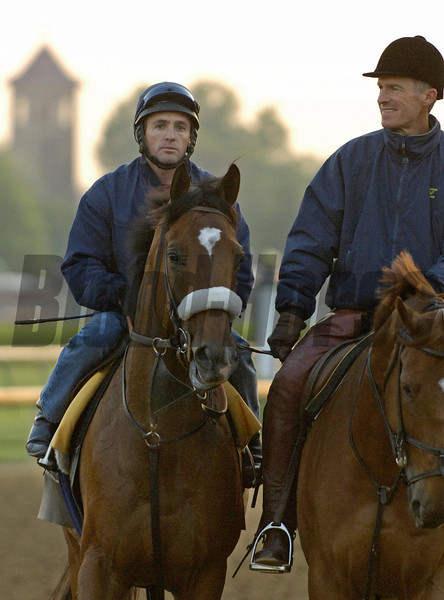 Caption: Barbaro with Peter Brette and Matz<br /> Horses working and connections of Kentucky Derby and Oaks at Churchill Downs in Louisville, Ky. on April 28, 2006.<br /> 2CDWorks4_28_06 image71<br /> Photo by Anne M. Eberhardt