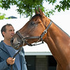 Letruska and trainer Fausto Gutierrez at Keeneland on July 2, 2021.