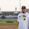 Victor Martinez owner of King Guillermo in front of spires. Kentucky Derby and Oaks training at Churchill Downs near Louisville, Ky., on Aug. 30, 2020 Churchill Downs in Louisville, KY. Photo: Anne M. Eberhardt