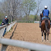 Caption: (L-R): trainer Kevin Noltemeyer with 2018 Paynter o/o Hallie and Beth colt<br /> Training at Silver Springs Training, part of Silver Springs Stud, near Lexington, Ky.,  on April 8, 2020 Silver Springs in Lexington, KY.