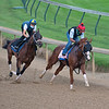 Caption: Bonny South with work mate.<br /> Kentucky Derby and Oaks training at Churchill Downs near Louisville, Ky., on Aug. 28, 2020 Churchill Downs in Louisville, KY.