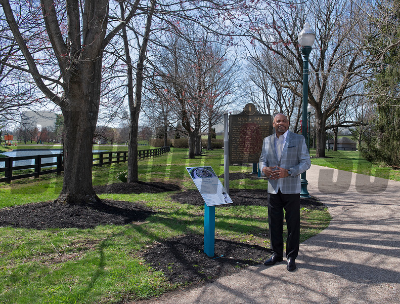 in front of the plaques of the Man o' War statue by the Isaac Murphy Memorial Garden<br /> Ron Mack with Legacy Equine Academy at the Kentucky Horse Park  in Lexington, Ky., on March 30, 2021.