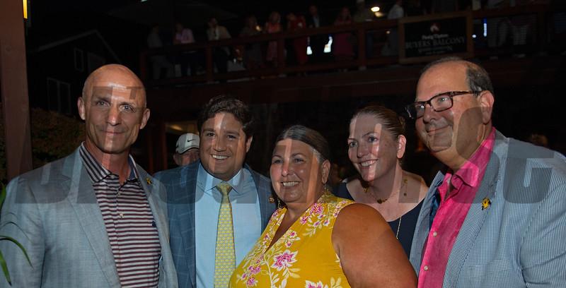 (L-R): Terry Finley, Conrad Bandoroff, Cheri Manning, Cathy Swinson, Ken Freirich<br /> Sales scenes at Fasig-Tipton in Saratoga Springs, N.Y. on Aug. 9, 2021.