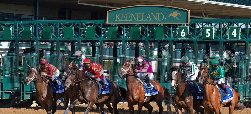 Start of the race. Bonny South with Florent Geroux wins the Baird Doubledogdare (G3) at Keeneland near Lexington, Ky., on April 16, 2021. .