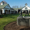 Nashua with Clem Brooks sculpture by Liza Todd at Spendthrift Farm near Lexington, Ky., on Dec. 9, 2020.