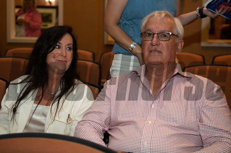 (L-R): Dana and Jim Bishop after purchase of Hip 111 colt Candy Ride out of Beyond Grace from Taylor Made, agent.<br /> Scenes, people and horses at The July Sale at Fasig-Tipton near Lexington, Ky. on July 13, 2021.