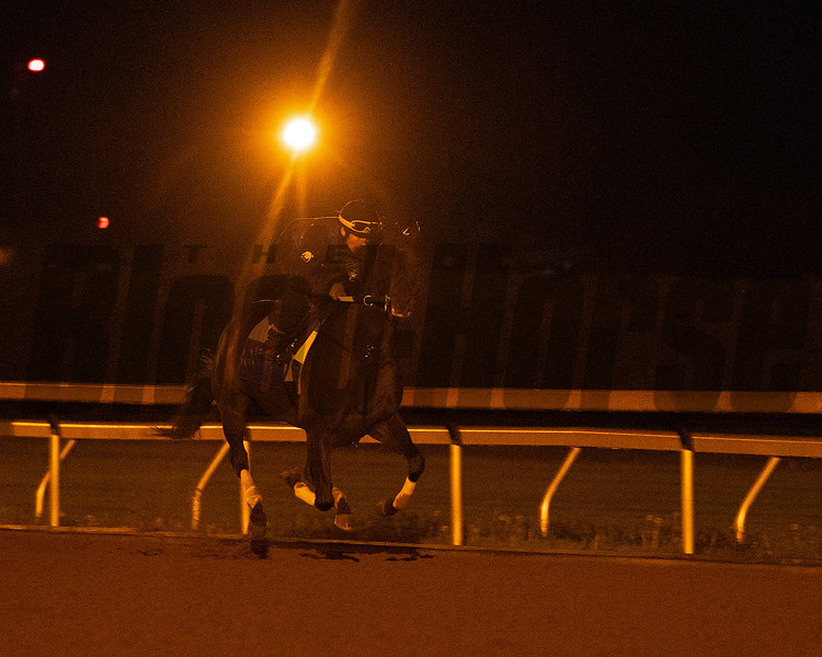 Caption: working with Juan Vargas up<br /> Midnight Bisou at Keeneland on May 2, 2020 Keeneland in Lexington, KY.