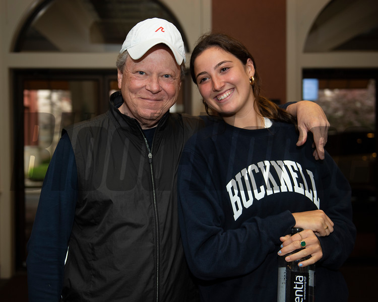 Larry Best with his daughter Halle, who owned Hip 111 colt Candy Ride out of Beyond Grace from Taylor Made, agent.<br /> Scenes, people and horses at The July Sale at Fasig-Tipton near Lexington, Ky. on July 13, 2021.