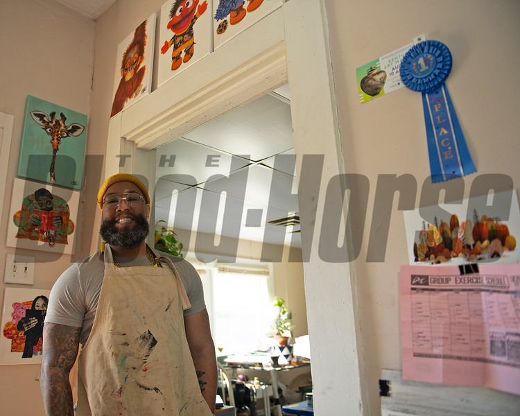 Dafri at entrance to his studio<br /> Dafri aka Jason Thompson, an American artist from Kentucky who specializes in multi-mediums and various subjects including a focus on black jockeys and history, in his art studio on March 2, 2021.