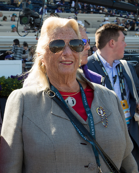 Charlotte Weber, owner of later Mile winner World Approval<br /> Stormy Liberal wins the Breeders Cup Turf Sprint on November 4, 2017. Photo by Anne Eberhardt