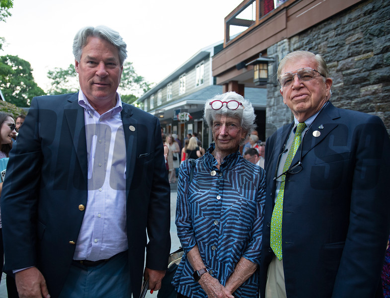 (L-R): Michael Hernon and Mr. and Mrs. Roy Jackson<br /> Sales scenes at Fasig-Tipton in Saratoga Springs, N.Y. on Aug. 9, 2021.