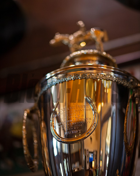 Justify's Kentucky Derby trophy<br /> Kentucky Derby trophies for Super Saver and Triple Crown winner Justify at WinStar Farm on March 5, 2021.