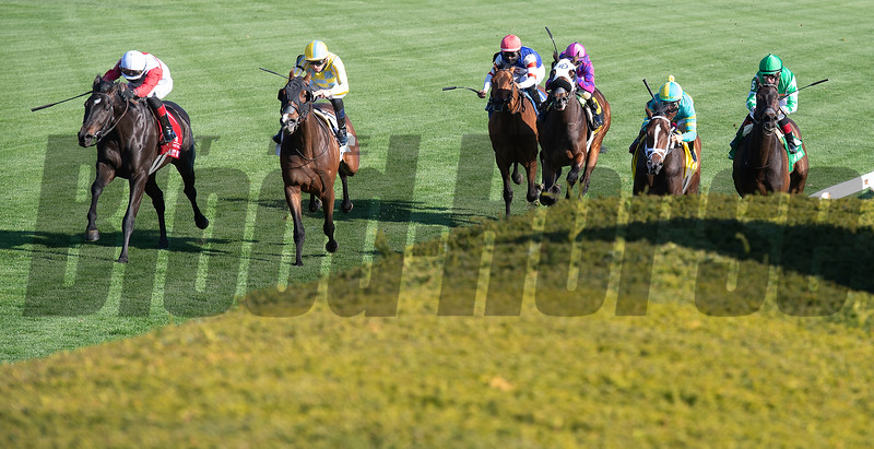 Scarlett Sky (left) with Joel Rosario wins the Kentucky Utilities Transylvania (G3T)<br /> at Keeneland near Lexington, Ky., on April 2, 2021.