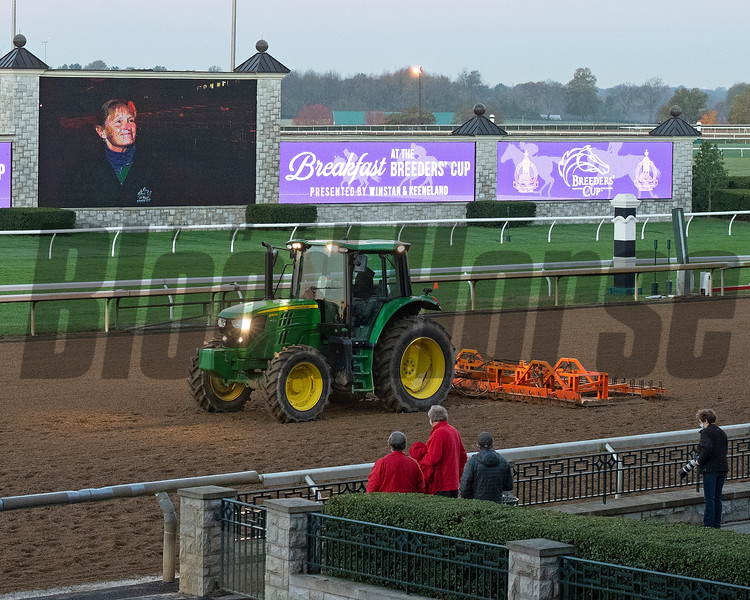Tractor working the track<br /> Breeders' Cup horses at Keeneland in Lexington, Ky. on October 31, 2020.