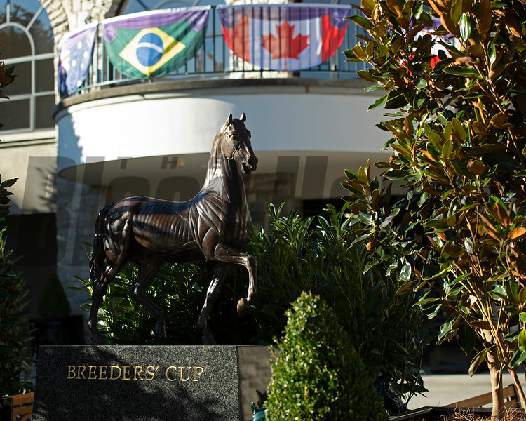 Ecorche horse statue near paddock<br /> Breeders' Cup horses at Keeneland in Lexington, Ky. on November 4, 2020.