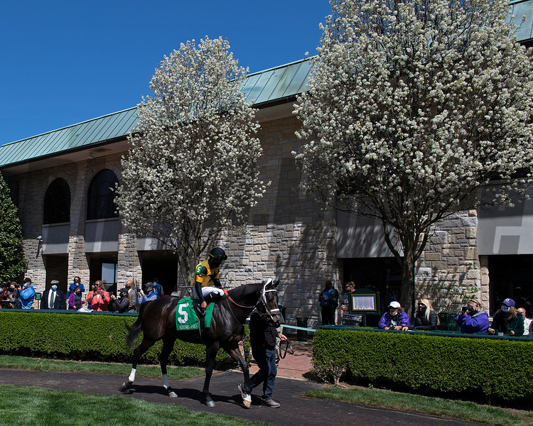 Scenes: Shadow Matter Luis Saez in the paddock before winning Race 3. <br /> at Keeneland near Lexington, Ky., on April 3, 2021.